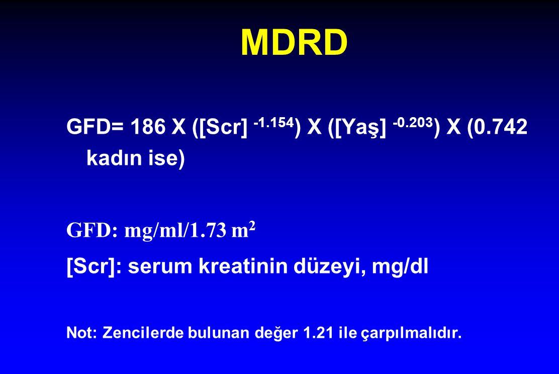 MDRD GFD= 186 X ([Scr] -1.154) X ([Yaş] -0.203) X (0.742 kadın ise)